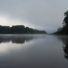 I woke up around 7 and the river was covered in a misty fog.  Very cool looking.