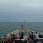 The ferry to Ko Phi Phi. (That rock is not Phi Phi)