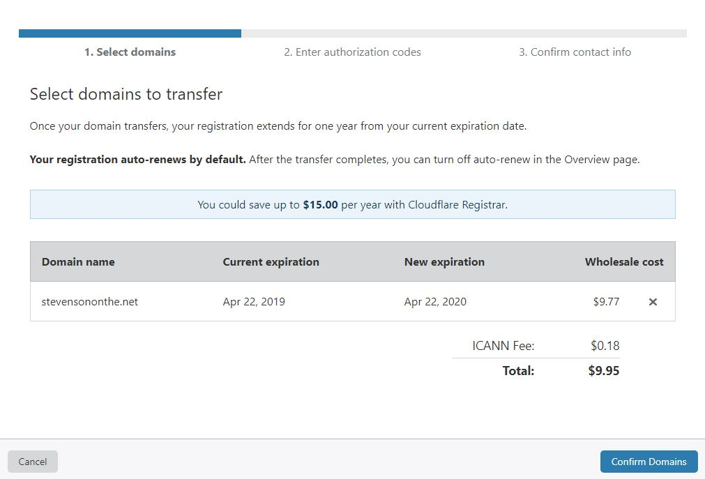 Cloudflare Select Domain To Transfer
